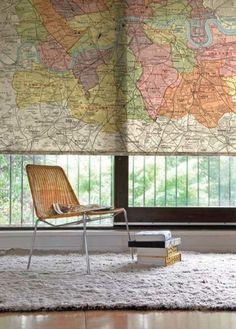 Use creative materials, like maps, as #window #shades