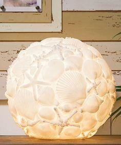 Oceanic White Embossed Seashell Orb Lamp large white globe light cover glue on shells add light fixture on a wood base Seashell Art, Seashell Crafts, Beach Crafts, Diy And Crafts, Seashell Projects, Coastal Decor, Diy Home Decor, Coastal Lighting, Coastal Style