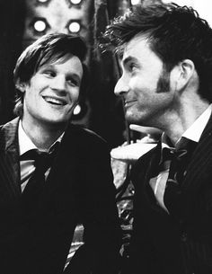 Doctor Who - Matt Smith & David Tennant <3 I'd like to squeeze right up in the middle... lol