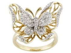Park Avenue(Tm) .40ctw Round White Diamond 18k Yellow Gold Over Sterling Silver Butterfly Ring
