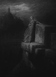 "poltergeist-dreams: ""death-and-the-maiden: "" The Bridge of Sighs Gustave Doré "" duck i love gustave dore and his work ""¦♦cM Norman Rockwell, Rockwell Kent, Gustave Dore, Saint Dominique, Arte Horror, Black And White Illustration, Wood Engraving, French Artists, Religious Art"