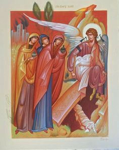 The Holy Myrrh-bearing Women or is this The Three Marys icon, by George Kordis Byzantine Art, Byzantine Icons, Religious Icons, Religious Art, Christ Is Risen, Christian Religions, Best Icons, Biblical Art, Holy Week
