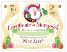 Christmas nice list certificate free printable nice list capture your childs christmas wishes with our santa letter template includes 3 free printable santa spiritdancerdesigns Image collections