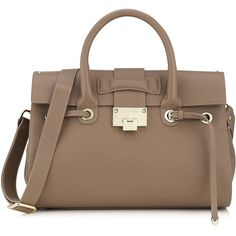 Jimmy Choo Rosalie Taupe Grainy Calf Leather Handbag found on Polyvore