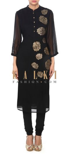Buy Online from the link below. We ship worldwide (Free Shipping over US$100) Price- $59 Click Anywhere to Tag http://www.kalkifashion.com/black-kurti-in-kundan-embroidery-only-on-kalki.html