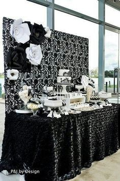 Black and white dessert bar love the backdrop of the table!