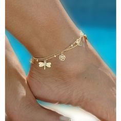 Mystic Double Chain Gold Tone Anklet - ankle bracelet, gold ankle... ($17) ❤ liked on Polyvore featuring jewelry, bracelets, accessories, anklet, gold butterfly jewelry, gold jewelry, butterfly anklet, dragonfly jewelry and goldtone jewelry