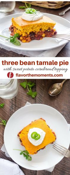 Three Bean Tamale Pie with Sweet Potato Cornbread Topping is a hearty vegetarian tamale pie topped with a homemade sweet potato cornbread topping! Flavor the Moments Vegetarian Tamales, Best Vegetarian Recipes, Vegetarian Dinners, Good Healthy Recipes, Vegetarian Dish, Healthy Eats, Delicious Recipes, Yummy Food, Dinner Casserole Recipes