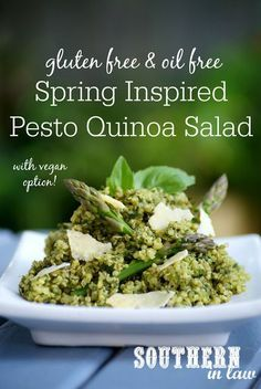 We are celebrating Spring with this delicious (and easy to make!) Healthy Pesto Quinoa Salad Recipe that is perfect for picnics, lunchboxes, dinner parties and barbeques. Not only that, it is gluten free, low fat, oil free, vegetarian, grain free, clean eating friendly and even has vegan and nut free options! The perfect side dish or main meal that is made in minutes!