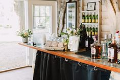 Outdoor cocktail hour, cottage bar, simple wedding decor, maryland wedding, bar setup, koozie