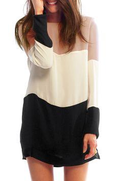 Splicing Color Block Long Sleeve Dress