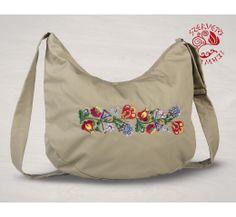 Szervető-kalocsai félhold táska - bézs, futómintás Drawstring Backpack, Diaper Bag, Folk, Backpacks, Tote Bag, Bags, Hungary, Products, Fashion