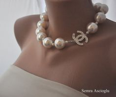 2014 Fashion Chanel Inspired , Handmade Weddings, ivoryPearl  Necklace,  brides,  bridesmaids gifts, special occasion