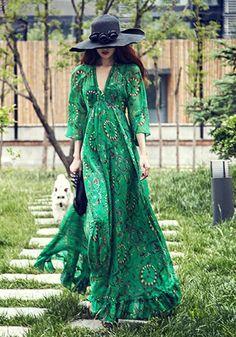 Maxi robe longue imprimé floral bohème col V manches longues mousseline de soie plage femme casual vert