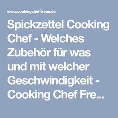 Spickzettel Cooking Chef - Welches Zubehör für was und mit welcher Geschwindigkeit - Cooking Chef Freunde
