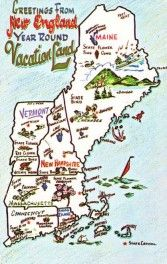Greetings from New England - Map - pm 1961 - bidStart (item 21901934 in Postcards, United States, Other)