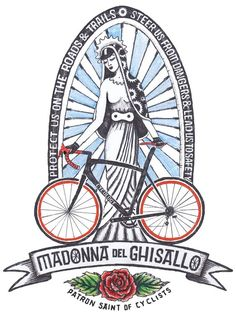 Madonna Del Ghisallo - The Patron Saint of Cycling. I do hope its Campagnolo she has on her bike there. Cycling Tattoo, Bicycle Tattoo, Bike Tattoos, Bicycle Art, Cycling Art, Cycling Bikes, Image Swag, Bike Illustration, Bike Poster