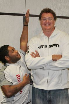 Chris Sandow with Basketball player Luc Longley.