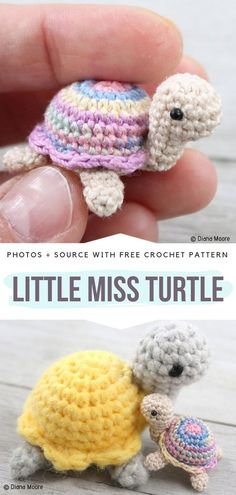 Little Miss Turtle Free Crochet Pattern. Meet Little Miss Turtle, a lady among other turtles, although very very tiny one. This sweet amigurumi is for all of you that enjoy making teeny-tiny toys. Amigurumi Little Miss Turtle Free Crochet Pattern Crochet Pattern Free, Crochet Motifs, Crochet Animal Patterns, Crochet Patterns Amigurumi, Cute Crochet, Crochet Crafts, Crochet Dolls, Crochet Baby, Knitting Patterns