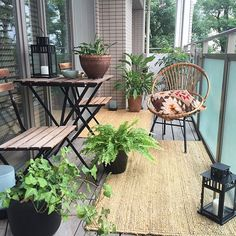 Creatively style your #UrbanBalcony with beautiful planters and a table for two.