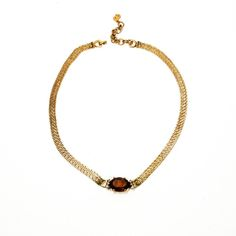 Vintage Christian Dior Necklace, Faux Smokey Quartz with Rhinestones, Gold Tone, Statement, Designer Jewelry