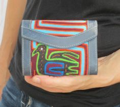 Handmade Leather and Mola Wallet! Fair Trade! One of a Kind!