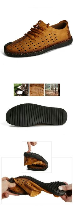 Amazon Men's Leather Summer Breathable Shoes Walking Lace Up Loafers Casual Hiking Shoes