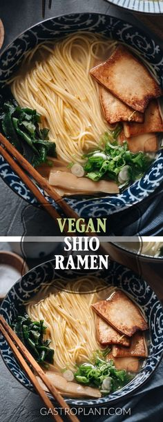 This vegan shio ramen features a light flavorful homemade vegetable broth boosted by truffle salt. Its topped with meaty king oyster mushrooms seaweed and menma. Easy Vegan Dinner, Vegan Dinner Recipes, Vegan Dinners, Vegetarian Recipes, Vegetarian Ramen, Vegetarian Cooking, Vegan Food, Ramen Recipes, Asian Recipes