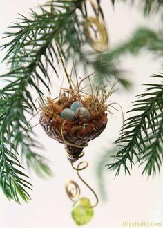 Miniature fairy garden acorn bird's nest with beads