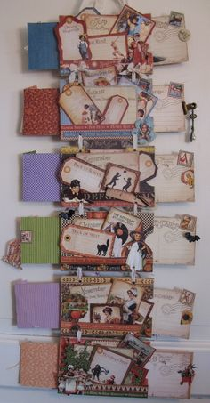 Place in time hanging mini album - calendar. Post cards pull outs