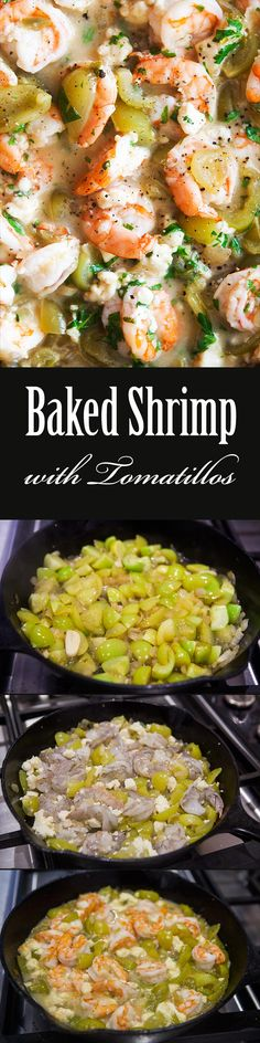 Baked Shrimp with Tomatillos and Cotija! Easy one pot shrimp dish, a ...