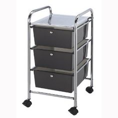 #9: Blue Hills Studio 13-Inch by 26-Inch by 15-1/2-Inch Storage Cart with 3 Drawers, Smoke