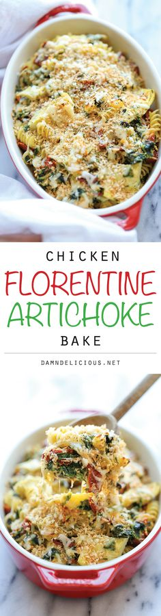 Chicken Florentine Artichoke Bake - An easy weeknight casserole with chicken, artichokes, spinach and sun-dried tomatoes - and all you need is 10 min prep! Might try veggies instead of pasta Great Recipes, Dinner Recipes, Favorite Recipes, Pasta Dishes, Food Dishes, Main Dishes, Cooking Recipes, Healthy Recipes, Le Diner