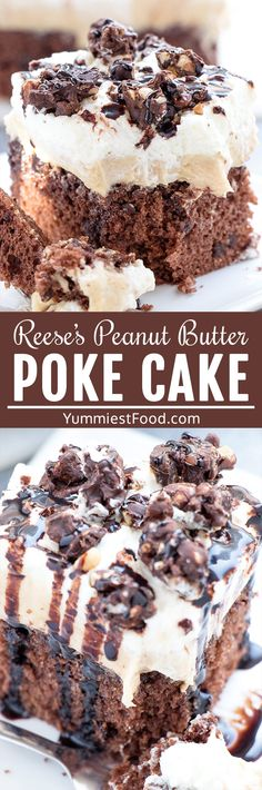 Reese's Peanut Butter Poke Cake is an easy summer dessert recipe perfect for parties and potlucks. Chocolate cake with peanut butter, creme cheese and condensed milk frosting, topped with cool whip, adorable Reese' Poke Cake Recipes, Sheet Cake Recipes, Dessert Cake Recipes, Easy Summer Desserts, Summer Dessert Recipes, Delicious Desserts, Tiramisu Dessert, Fudge, Reeses Peanut Butter