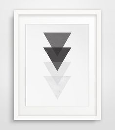 Black and White Triangle Wall Art, Geometric Wall Print, Black, Grey, White Triangles, Geometric Home Decor, Triangle Wall Print on Etsy, $5.00