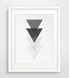 Geometric Wall Print Black and White Wall por MelindaWoodDesigns