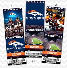 For a future Super Bowl party!  Denver Broncos Ticket Invitation on Etsy, $11.99