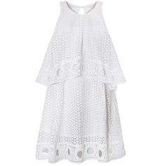 White Eyelet Dress - Pretty White Summer Dresses - (€81) ❤ liked on Polyvore featuring dresses, vestidos, short dresses, white halter top, mini dress, white halter top dress, white halter dress and halter dress
