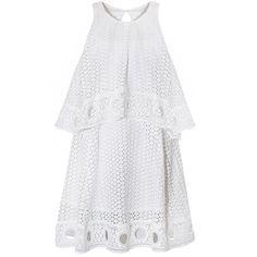 White Eyelet Dress - Pretty White Summer Dresses - ($92) ❤ liked on Polyvore featuring dresses, vestidos, short dresses, white mini dress, halter-neck dress, asymmetrical top, white halter top dress and halter mini dress