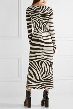 Marc Jacobs - Zebra-print Stretch-jersey Dress - Black - US12