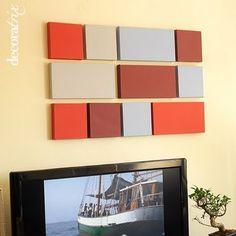 ideia quadro para harmonizar as cores da sala, também pode ser de tecidos de diferentes estampas e cores combinando