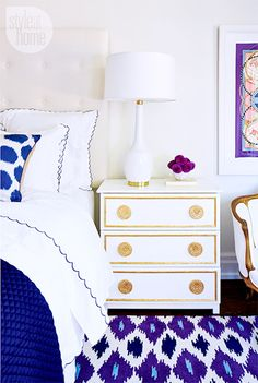 interior design bedroom by style at home: ikea hack gilt gold and white bedside dresser table, white table lamp, blue white linen, louis arm chair Ikea Nightstand, Ikea Tarva Dresser, White Nightstand, Unique Nightstands, Dresser Table, Bedside Tables, Bedside Lamp, Style At Home, Home Bedroom