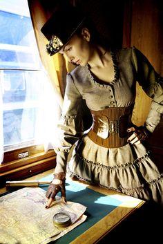 rib knit underbust corset brown steampunk