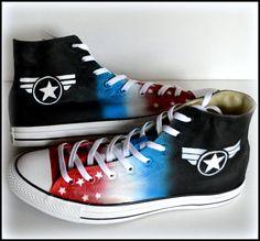 Mens Captain America Shoes Custom Made Superhero by PricklyPaw