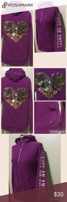 Victoria Secret Pink Victoria Secret Pink Size Large Purple Zip up Like New Condition Worn Once Sequin Detailed Heart on Back Sleeve Detail As Well PINK Victoria's Secret Jackets & Coats
