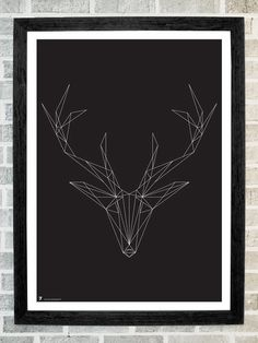 Deer head triangles print 11 X 16 by stola12
