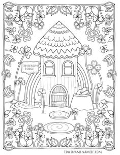 coloring books by Edwina Mc Namee - coloring books by edwinamcnamee House Colouring Pages, Cute Coloring Pages, Printable Coloring Pages, Coloring Sheets, Coloring Books, Free Adult Coloring, Wall Drawing, Mandala Pattern, Colorful Pictures