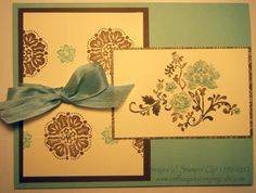 Stamp Set: Fresh Vintage; Inks: Pool Party, Soft Suede; Card Stock: Pool Party, Soft Suede, Very Vanilla, Attic Boutique Designer Series Paper; Accessories: 1/2 Pool Party Seam Binding, Jewels Basic Pearls, Simply Scored Scoring Tool