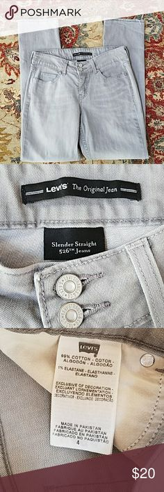 Levi's 526 Slender Straight Gray Jeans size 4 Great condition  Size 4 Inseam of 29 inches 9 inches Levi's Jeans Straight Leg