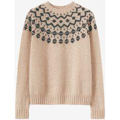 SEAMLESS FAIR ISLE YOKE SWEATER ($195) ❤ liked on Polyvore featuring tops, sweaters, yoke sweater, yoke top, beige sweater, seamless top and lambswool sweater